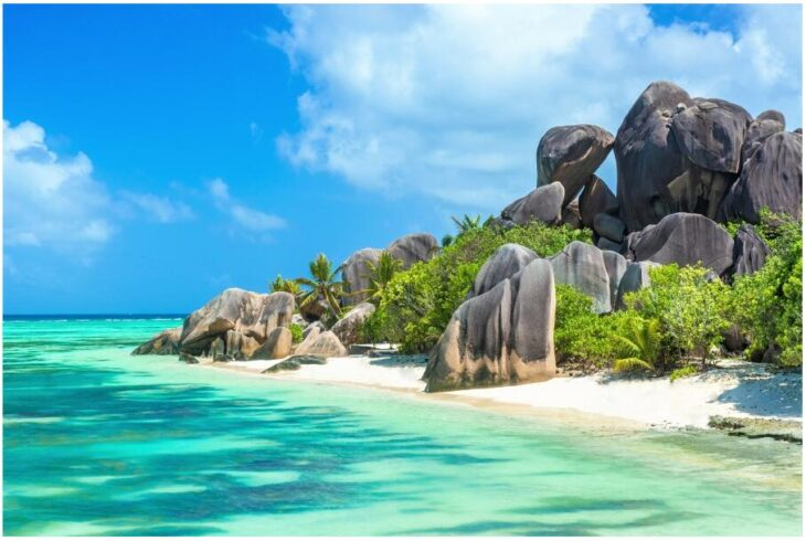 Granite rocks on La Digue Seychelles